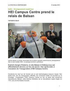 NR 14oct2013 Inauguration de HEI-Centre Le robot et Charles Balsan
